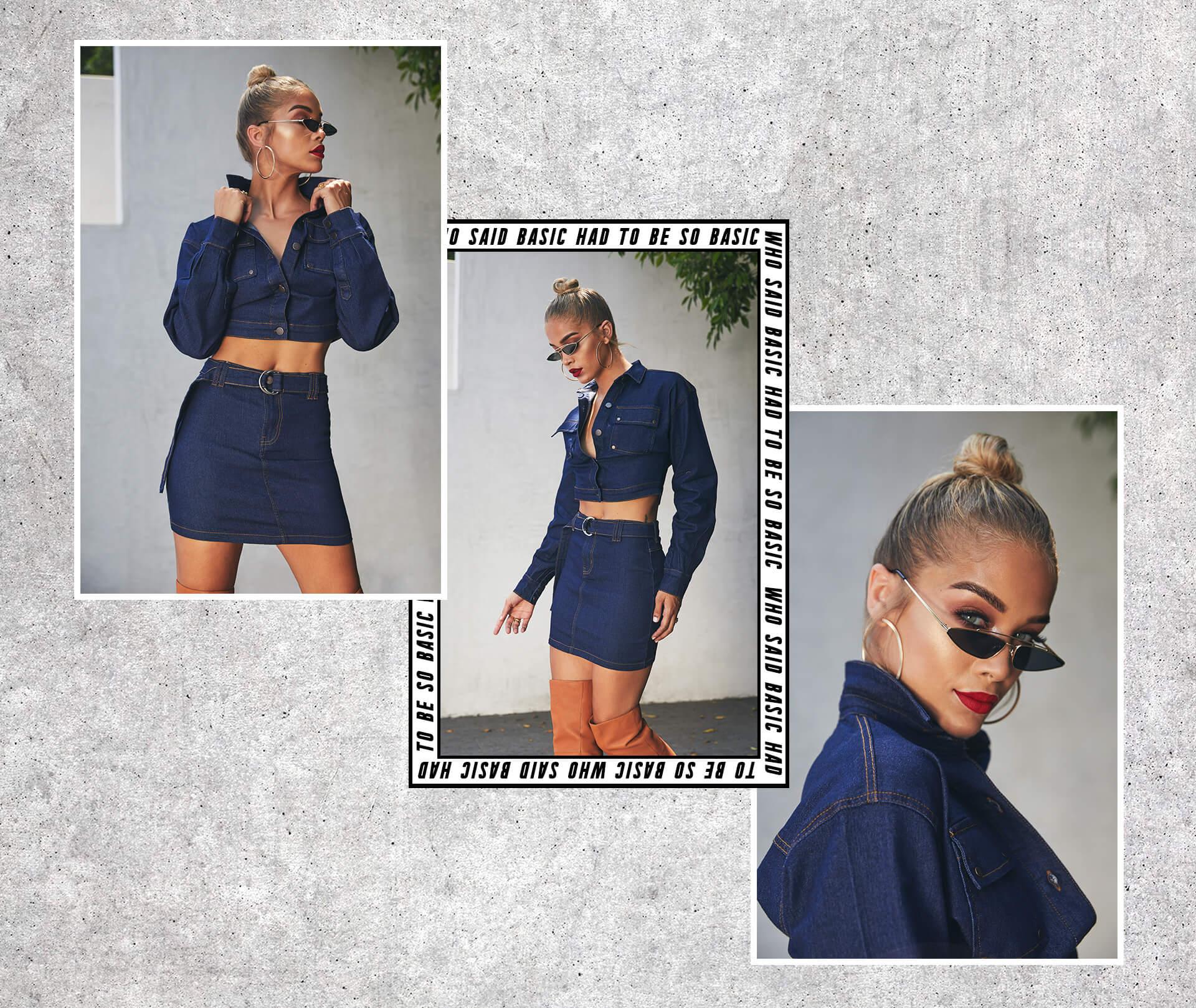 Jasmine Sanders Shoot 3 Dark Wash Denim Trucker Jacket & Dark Wash Denim Skirt Desktop