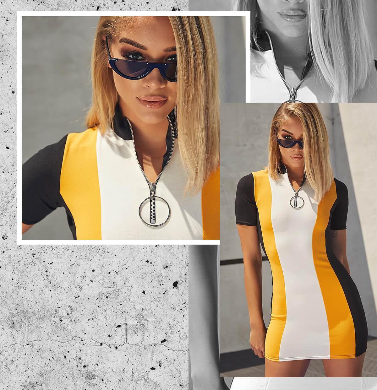 Jasmine Sanders Shoot 1 Yellow Motocross Dress Mobile