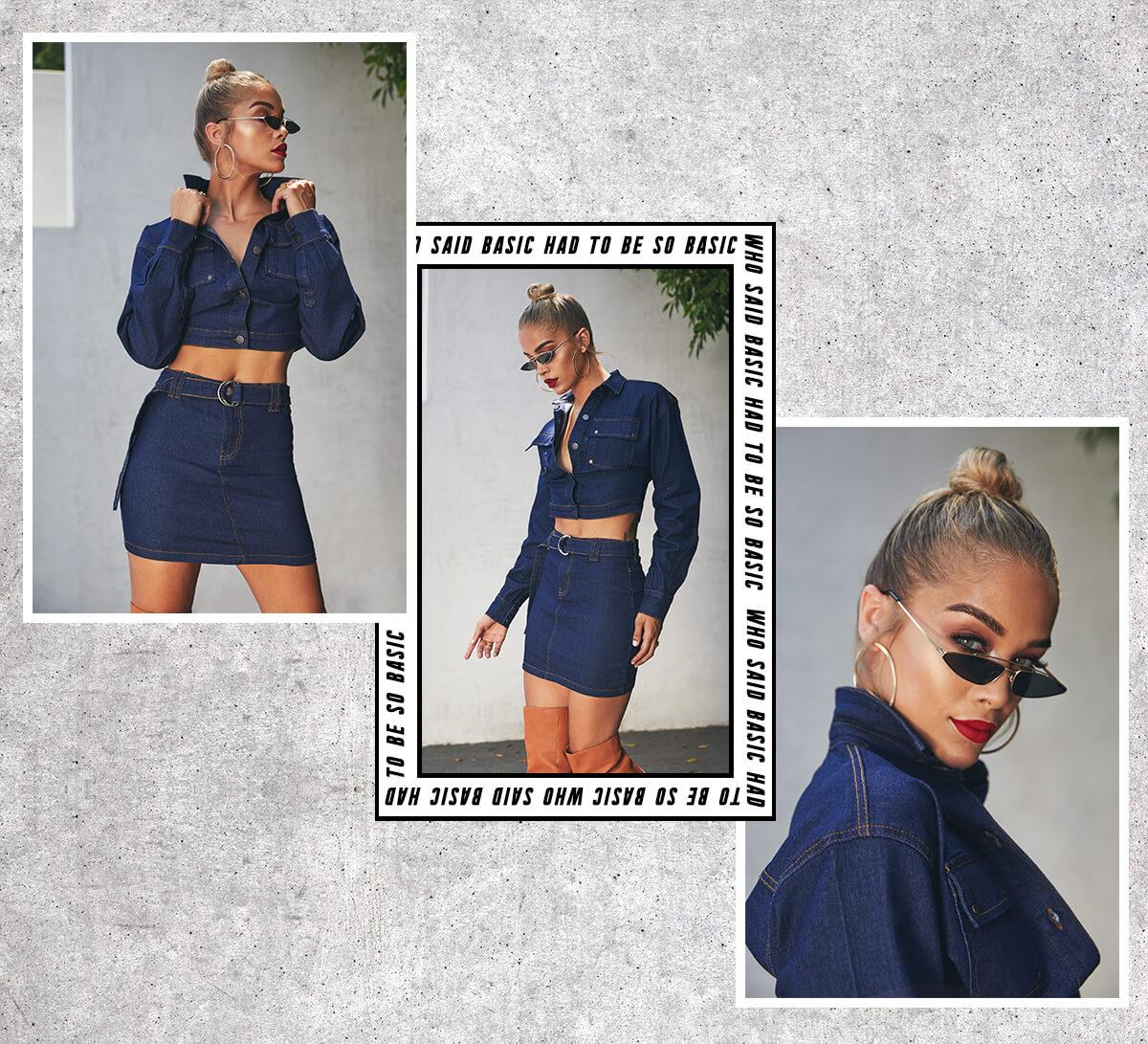 Jasmine Sanders Shoot 3 Dark Wash Denim Trucker Jacket & Dark Wash Denim Skirt Mobile