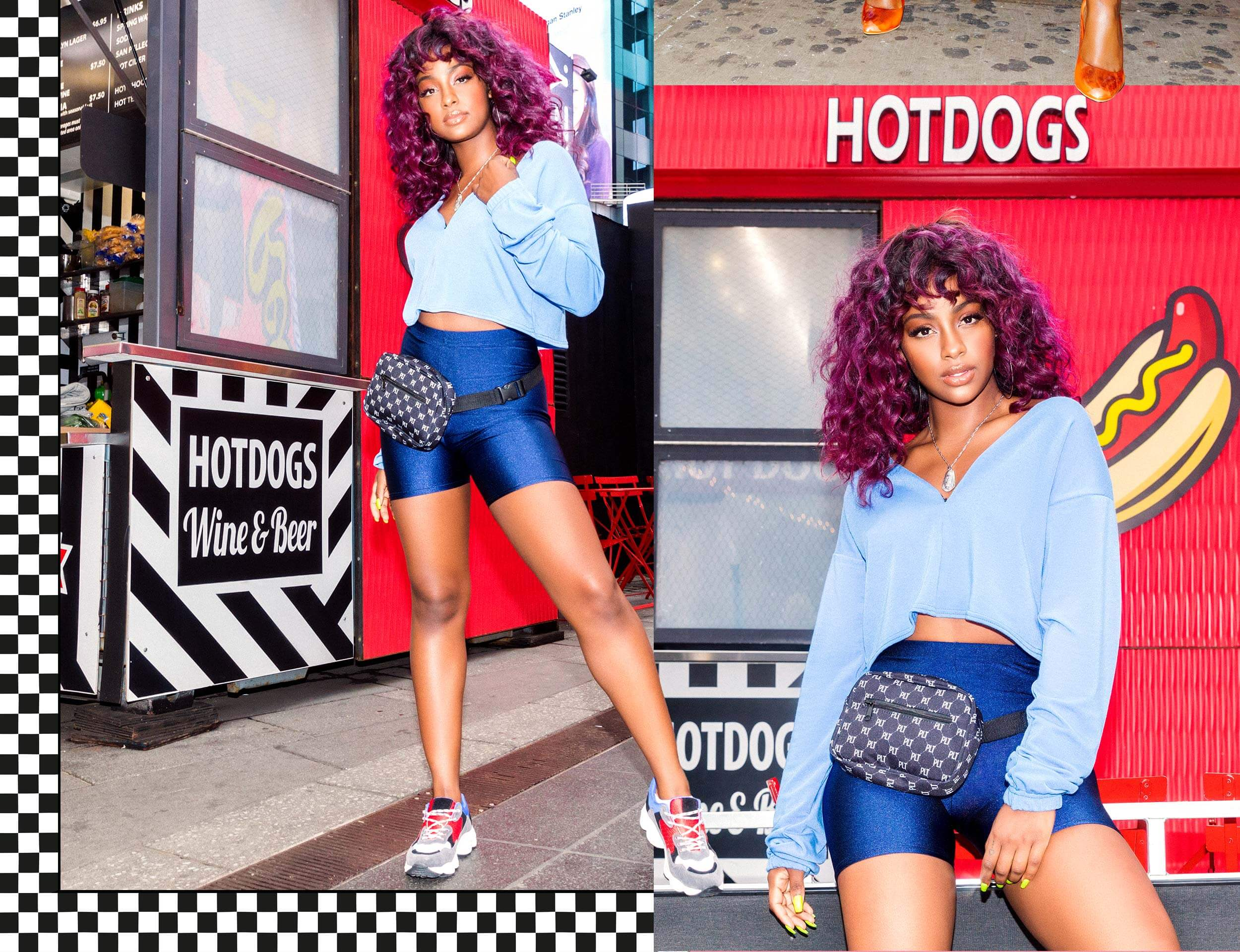 Justine Skye Shoot 2 Blue Cropped Sweater & Blue Cycle Shorts Desktop
