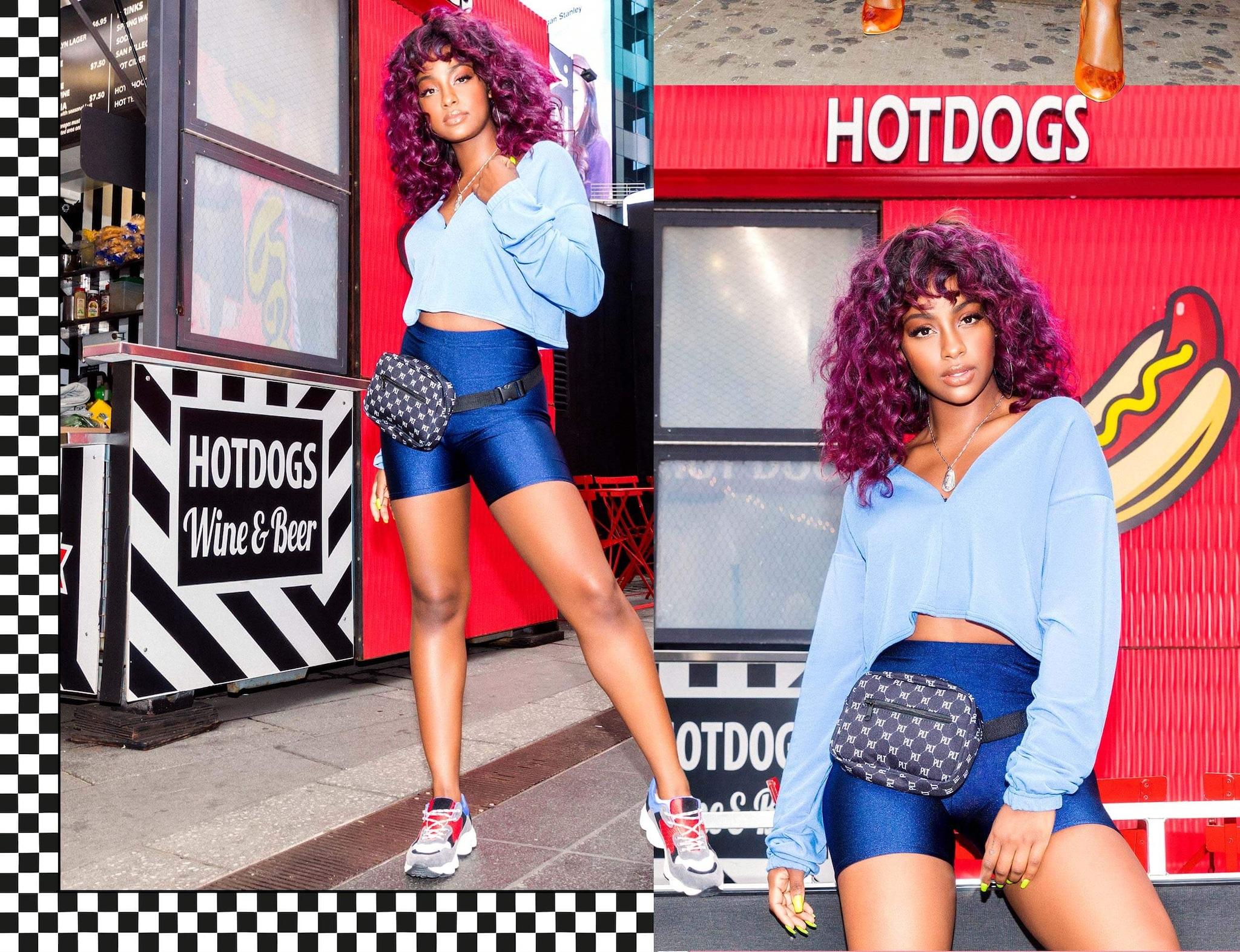 Justine Skye Shoot 2 Blue Cropped Sweater & Blue Cycle Shorts Desktop