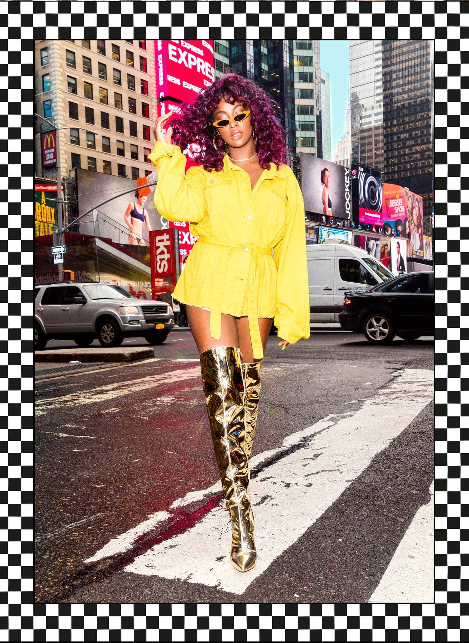 Justine Skye Shoot 10 Yellow Cropped Jacket Mobile