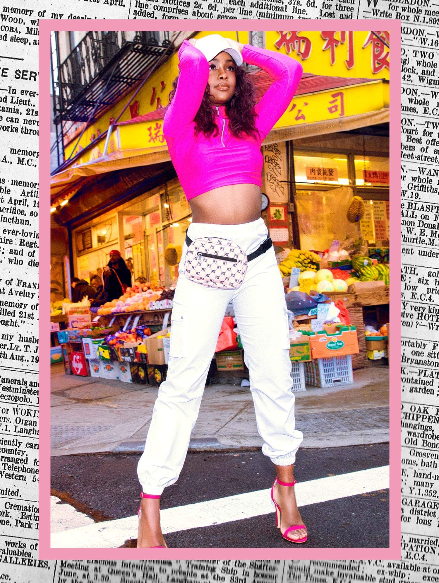 Justine Skye Shoot 12 Pink Crop Top & White Cargo Trousers Mobile
