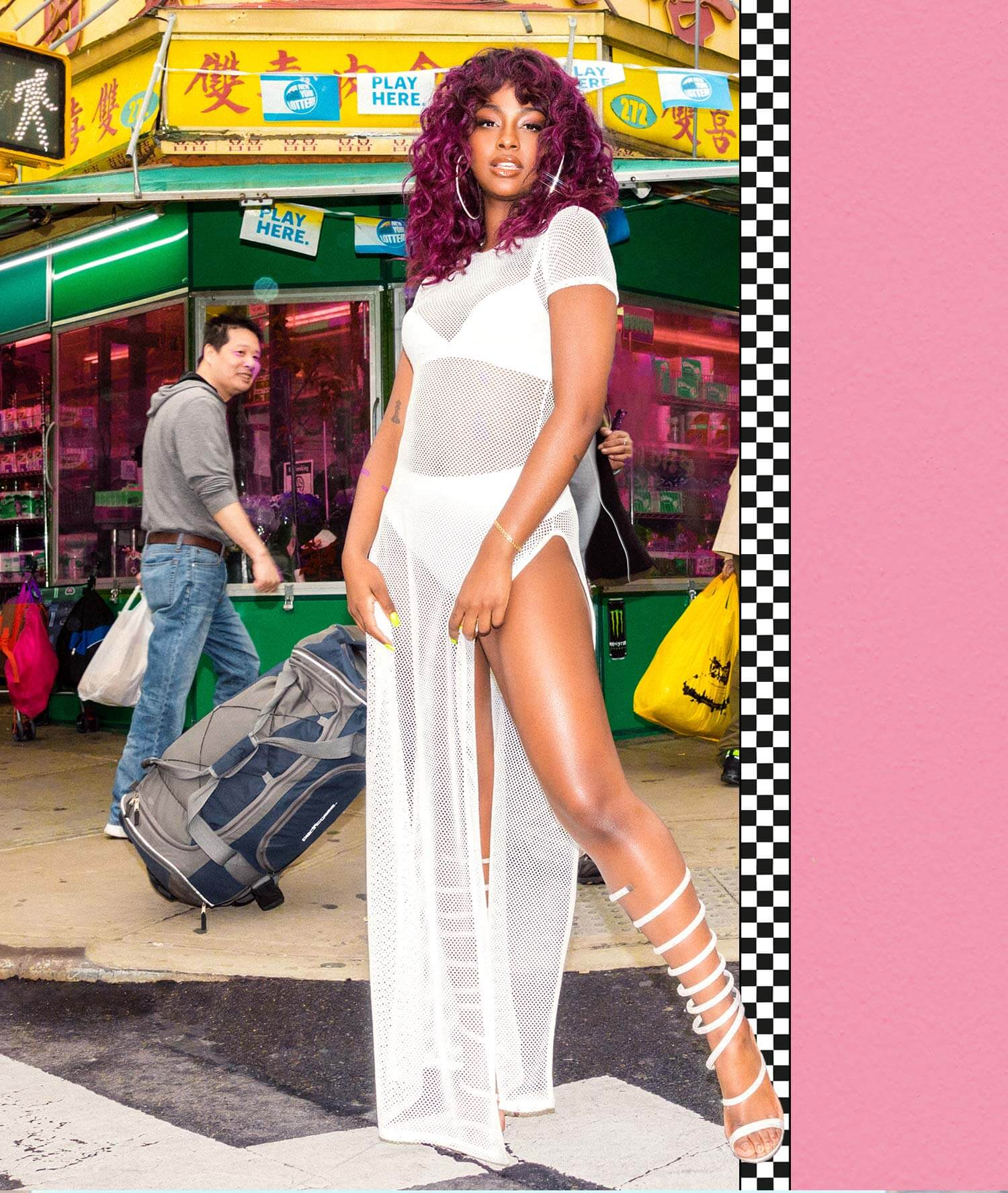 Justine Skye Shoot 13 White Netted Maxi Dress Mobile