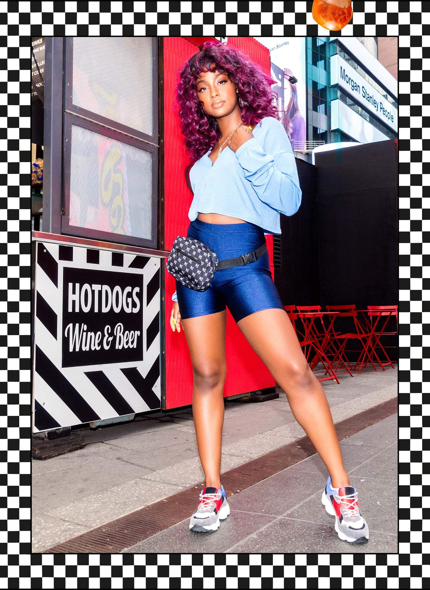 Justine Skye Shoot 2 Blue Cropped Sweater & Blue Cycle Shorts Mobile