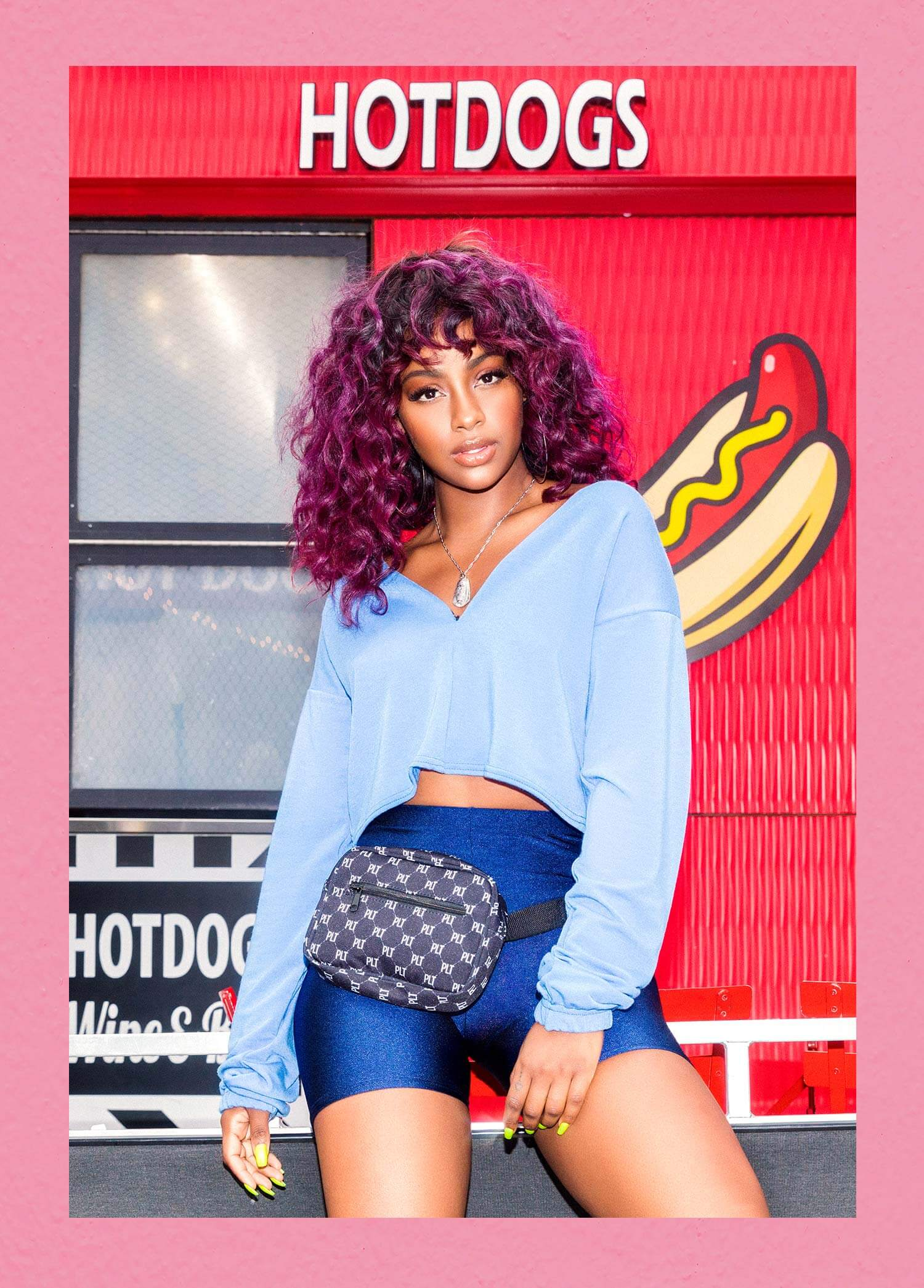 Justine Skye Shoot 3 Blue Cropped Sweater & Blue Cycle Shorts Mobile