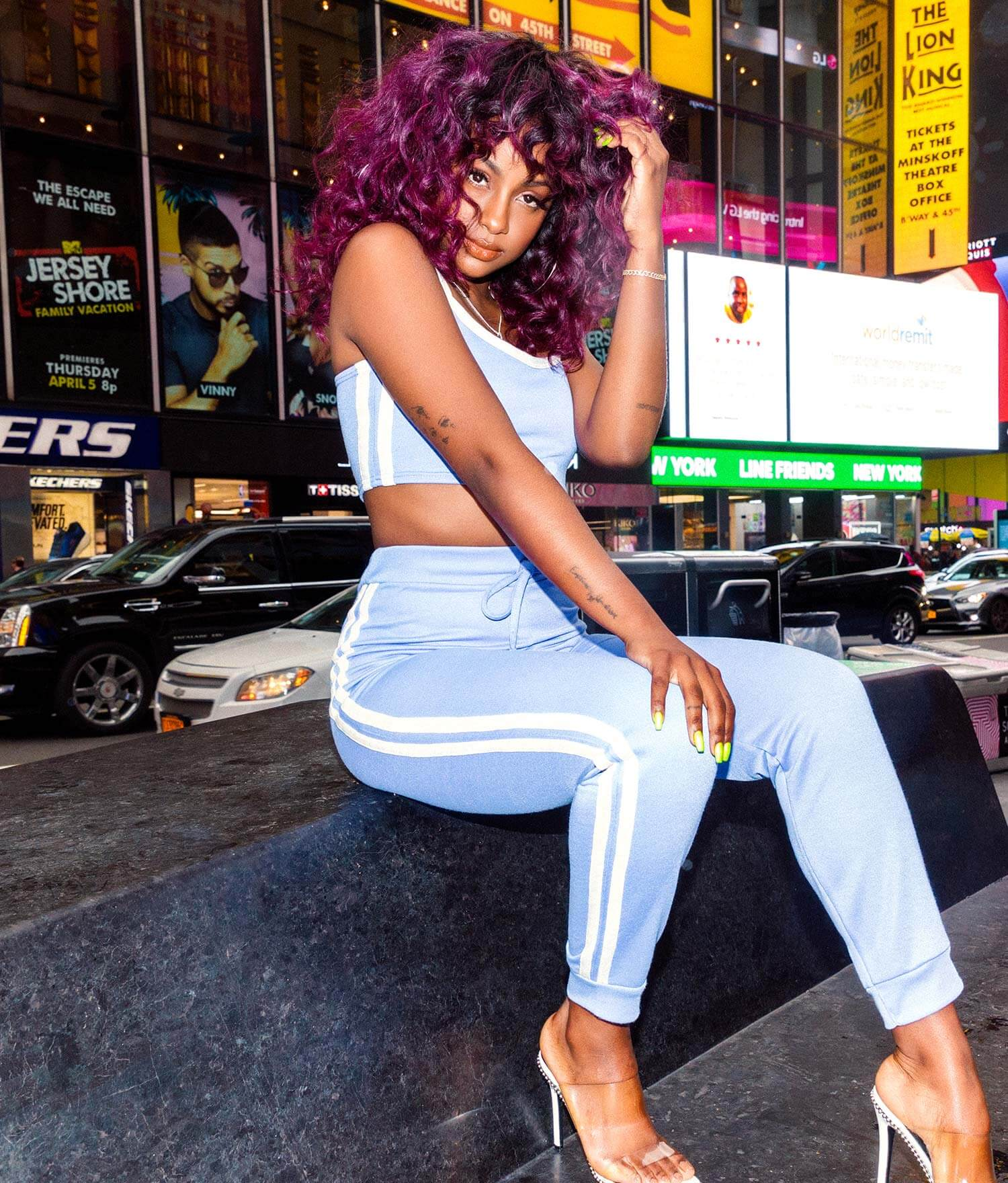 Justine Skye Shoot 7 Blue & White Crop Top & Blue & White Jogger Bottoms Mobile