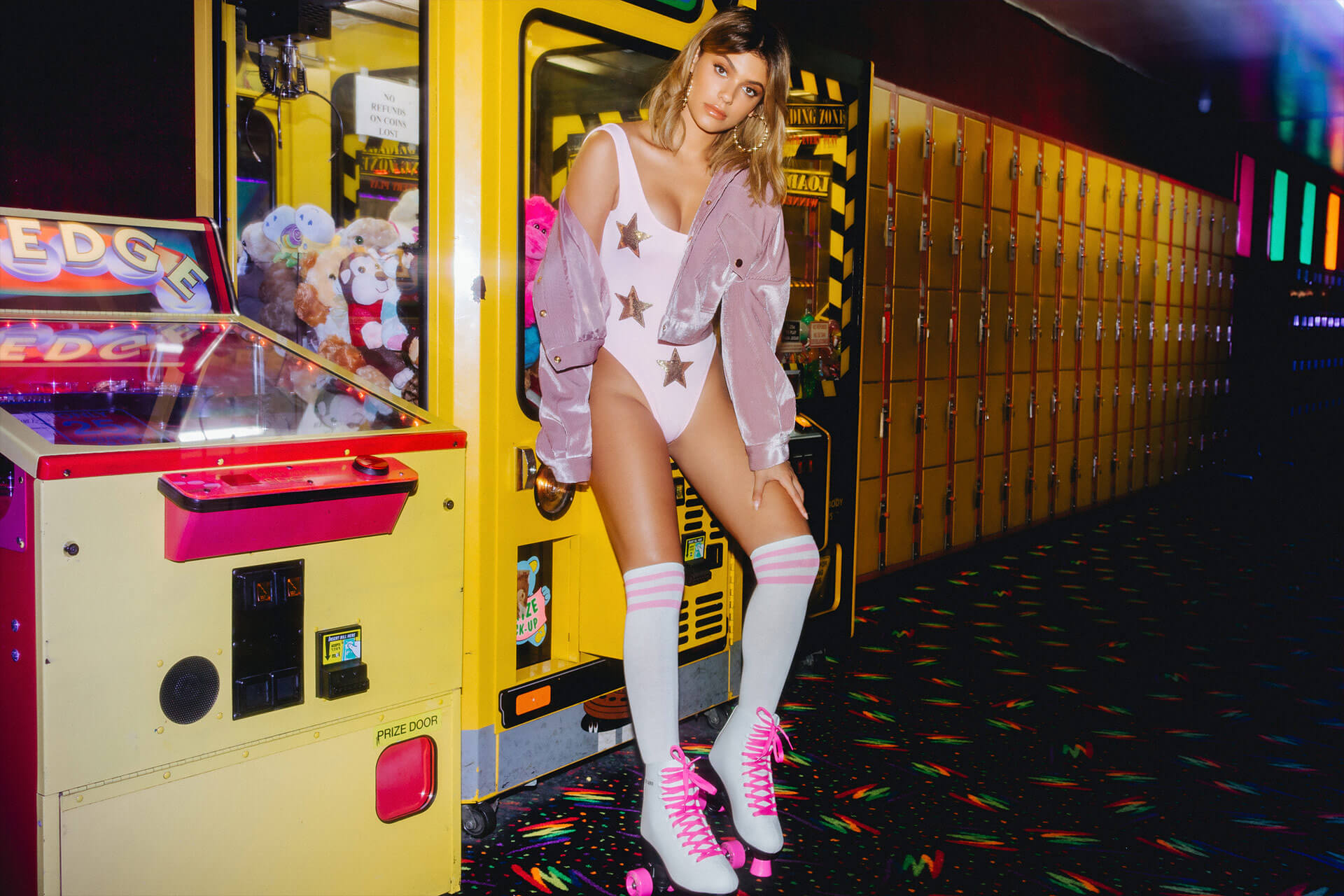 Kelsey Calemine Shoot 5 Pink Star Swimsuit & Pink Trucker Jacket Desktop