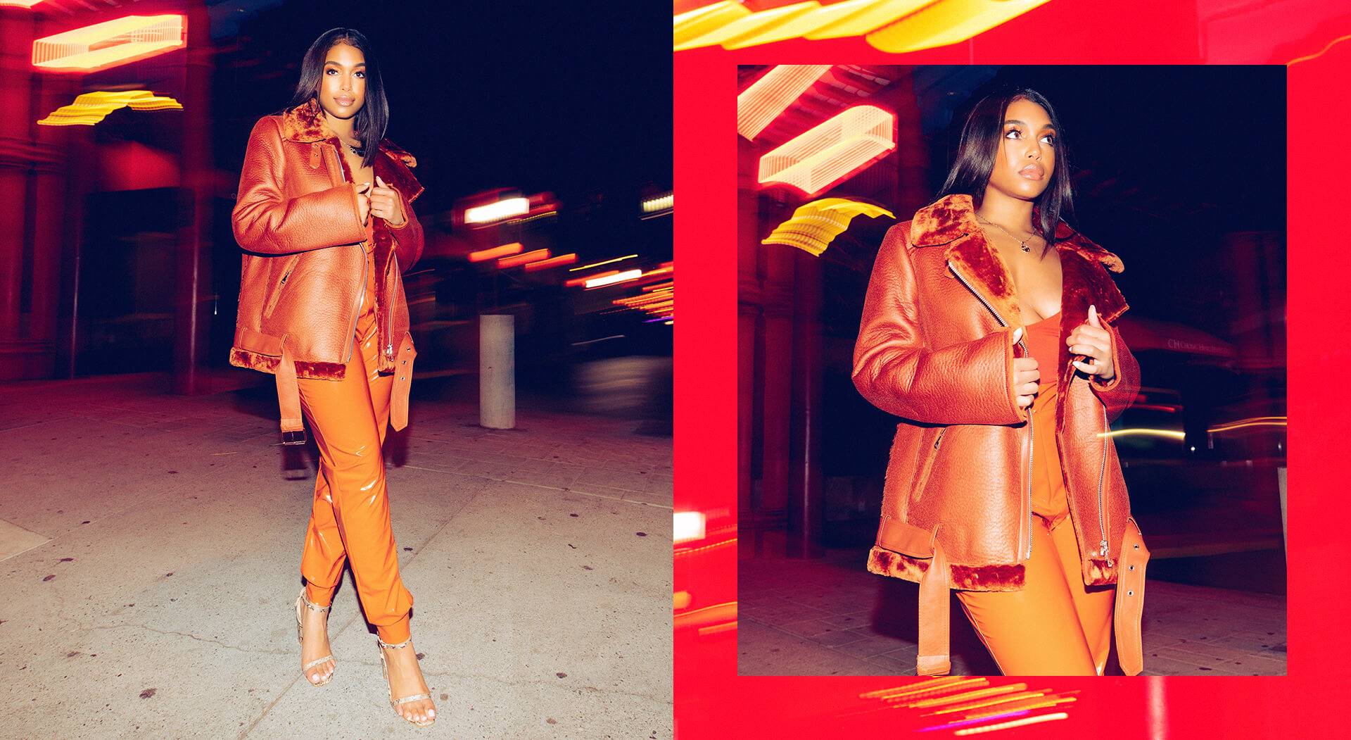 Lori Harvey Shoot 1 Orange Lycra Trousers and Orange Trucker Jacket Desktop