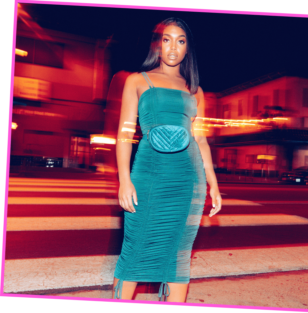 Lori Harvey Shoot 5 Turqoise Midi Dress Desktop