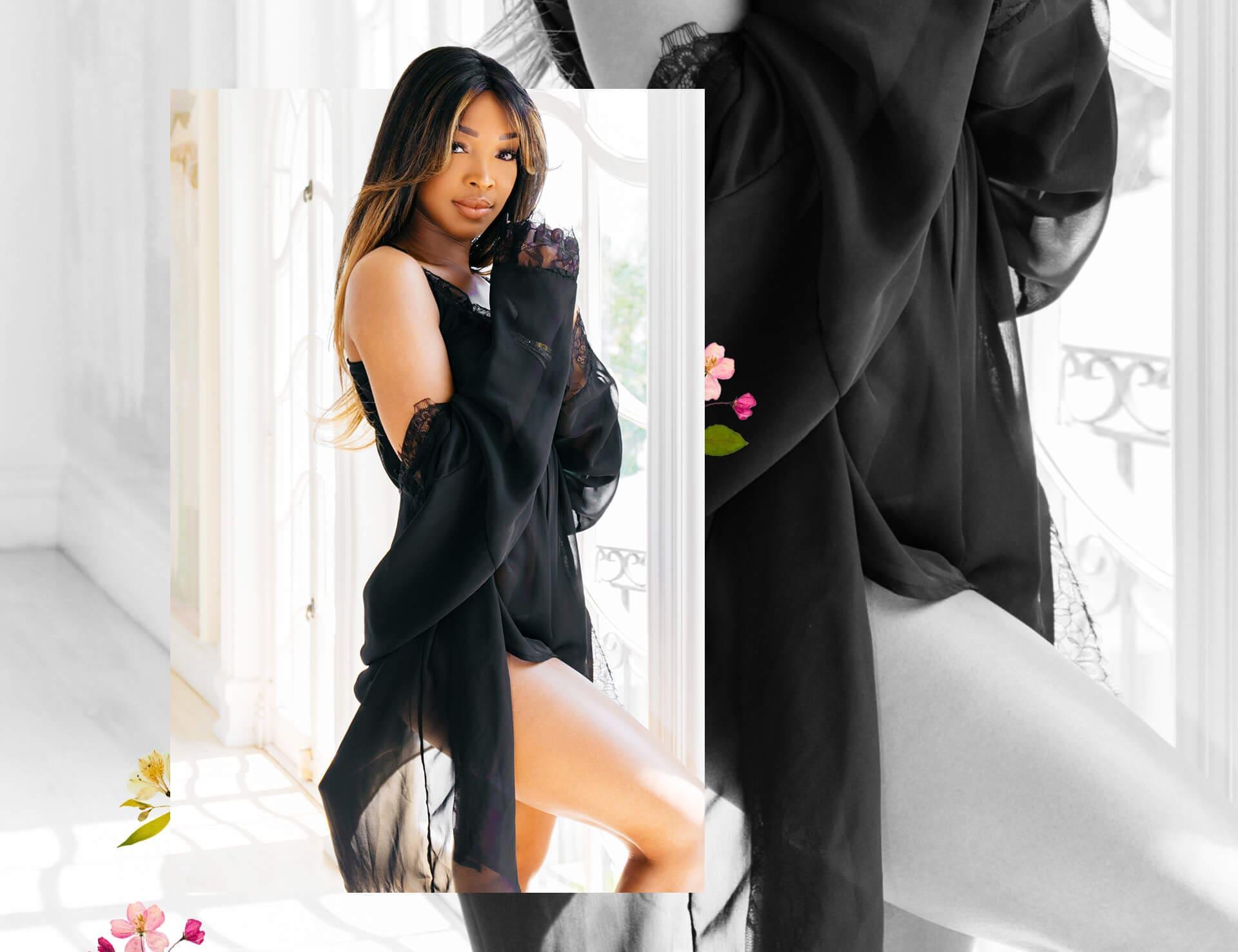 Malika Haqq Peach Front Wrap Tie Dress Shoot 1 Desktop