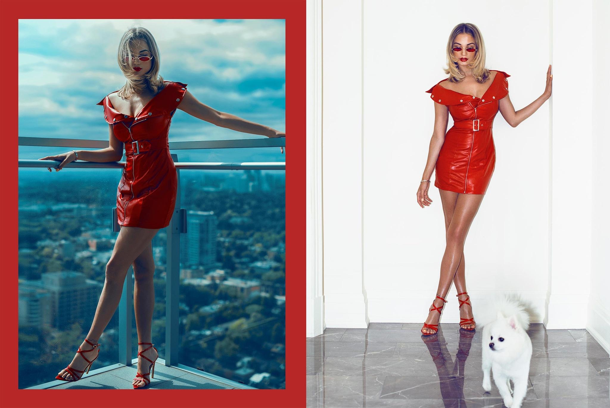 red front belt faux leather bodycon dress desktop