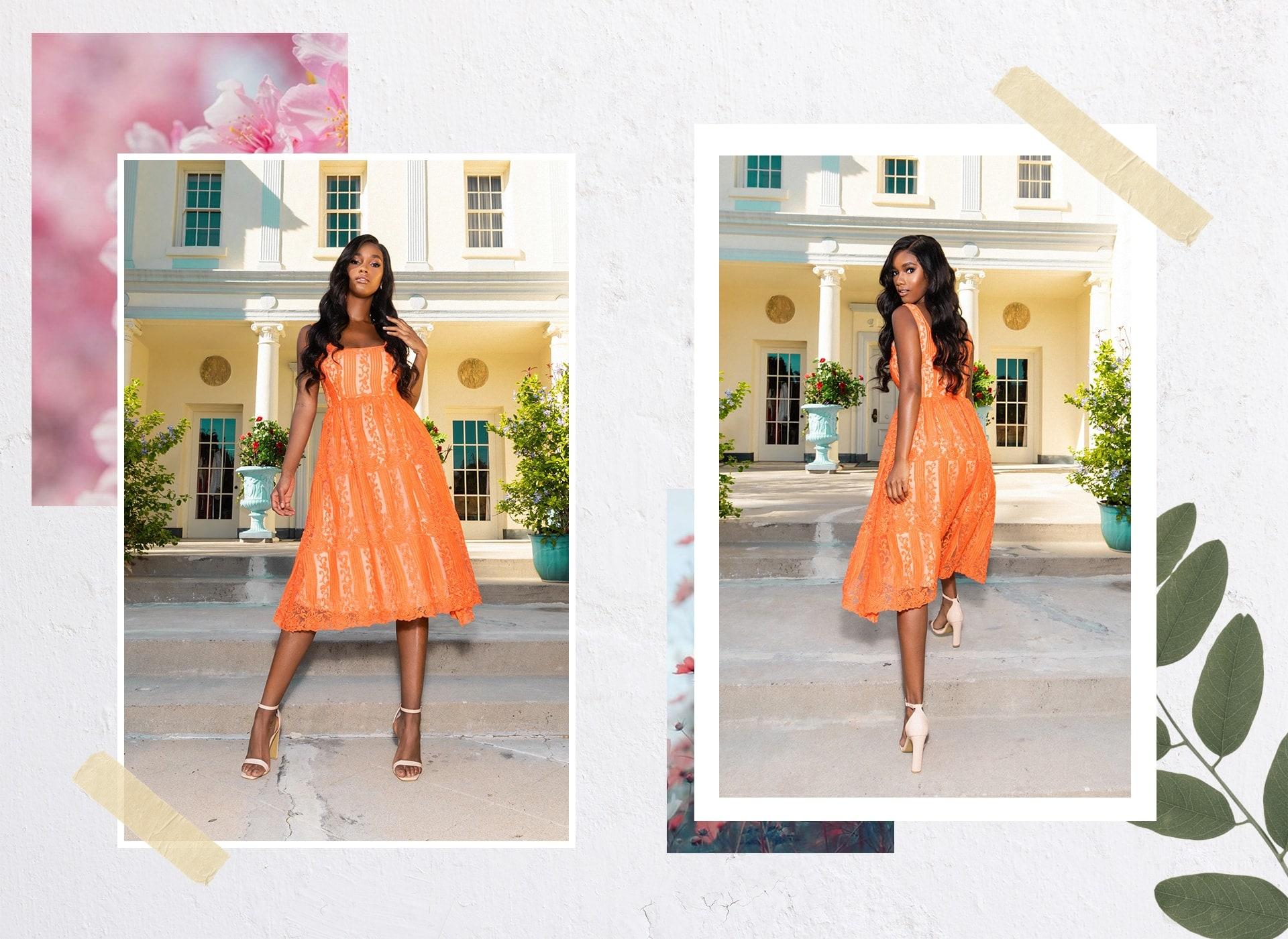 Orange Lace Midi
