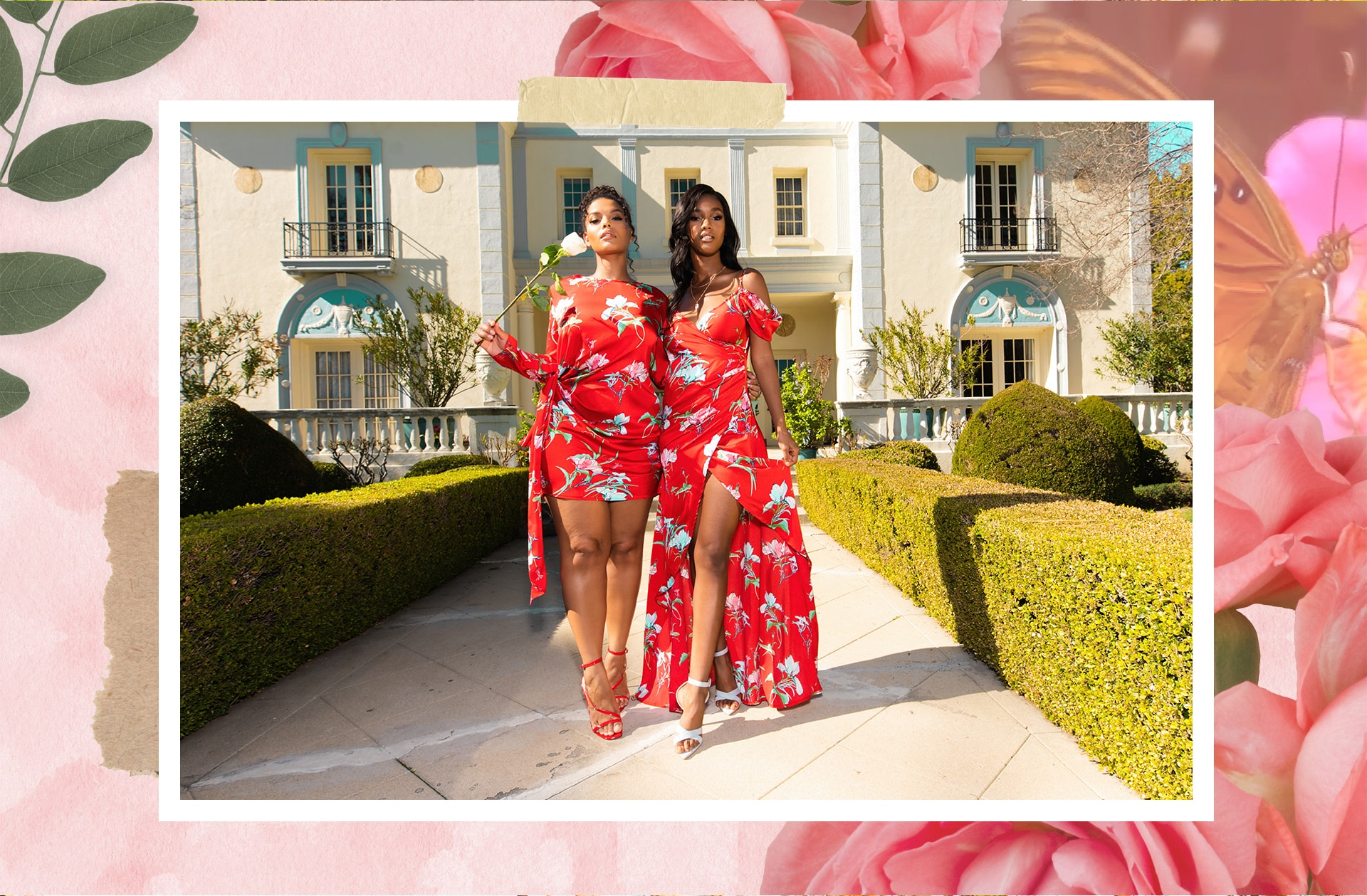 Red Floral Shift Dress , Red Floral Drape Maxi Dress