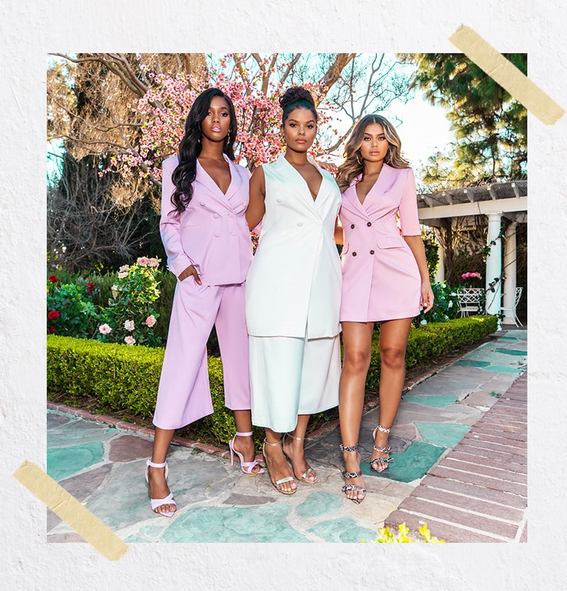 White Bodycon Blazer , White Culottes , Lilac Oversized Blazer , Lilac Culottes , Pink 3/4 Blazer Dress