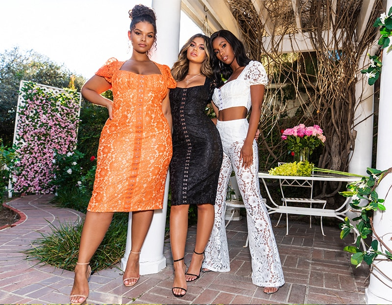 Orange Lace Midi Dress , Black Lace Midi Dress , White Lace Crop Top , White Lace Flares
