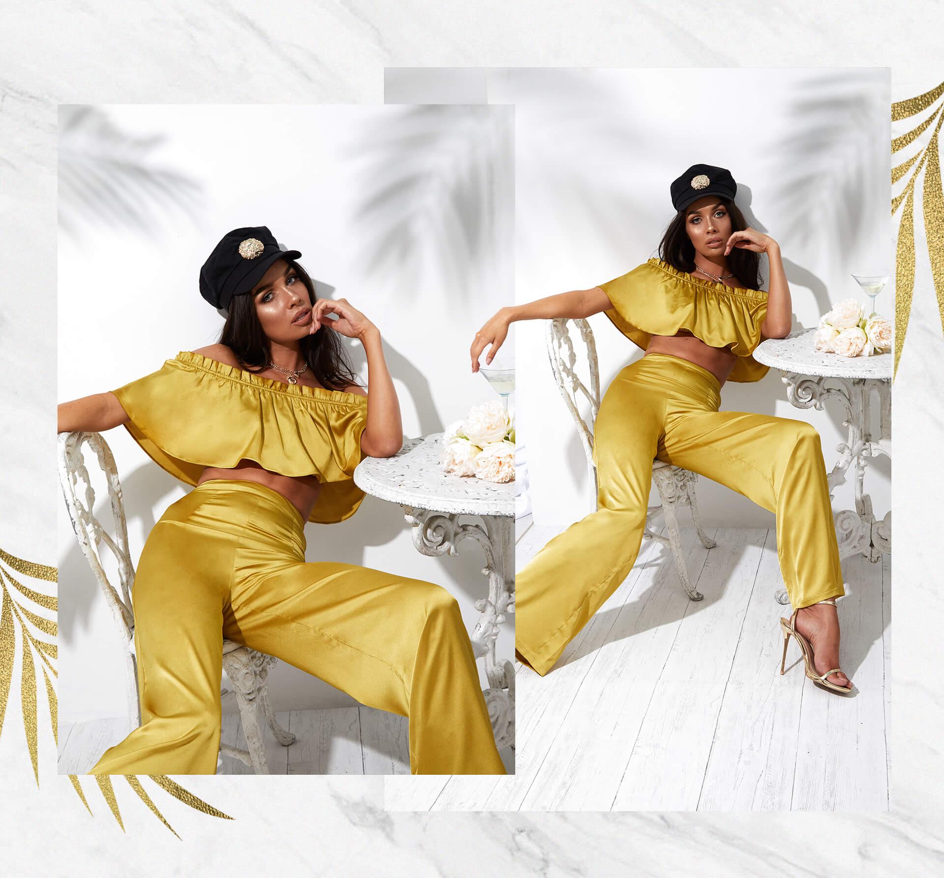 mustard frill bardot crop top and wide leg mustard trousers desktop