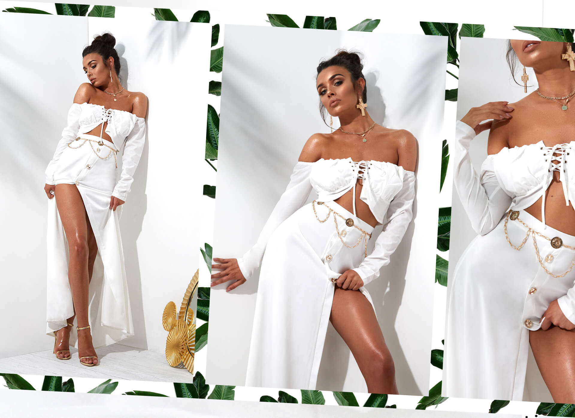 white lace up bardot crop top and front buttons white maxi skirt desktop