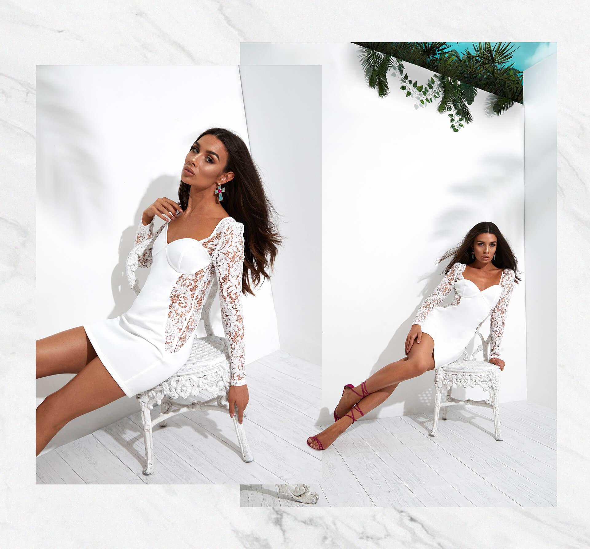 white lace up long sleeve bodycon dress desktop