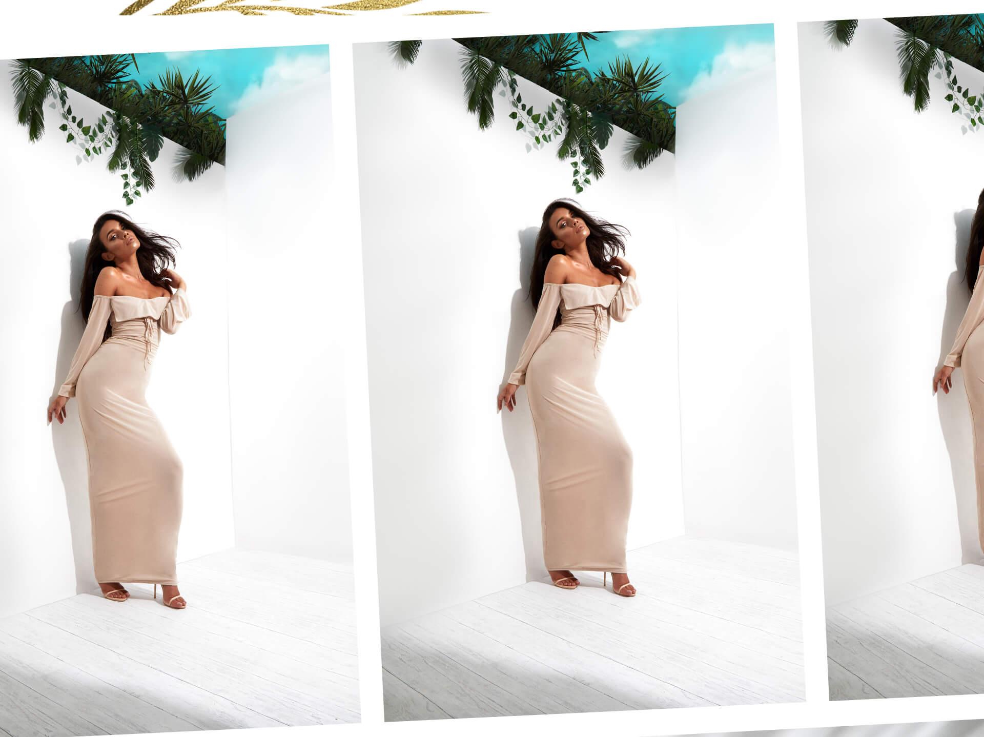 beige sleeveless tie front maxi dress desktop