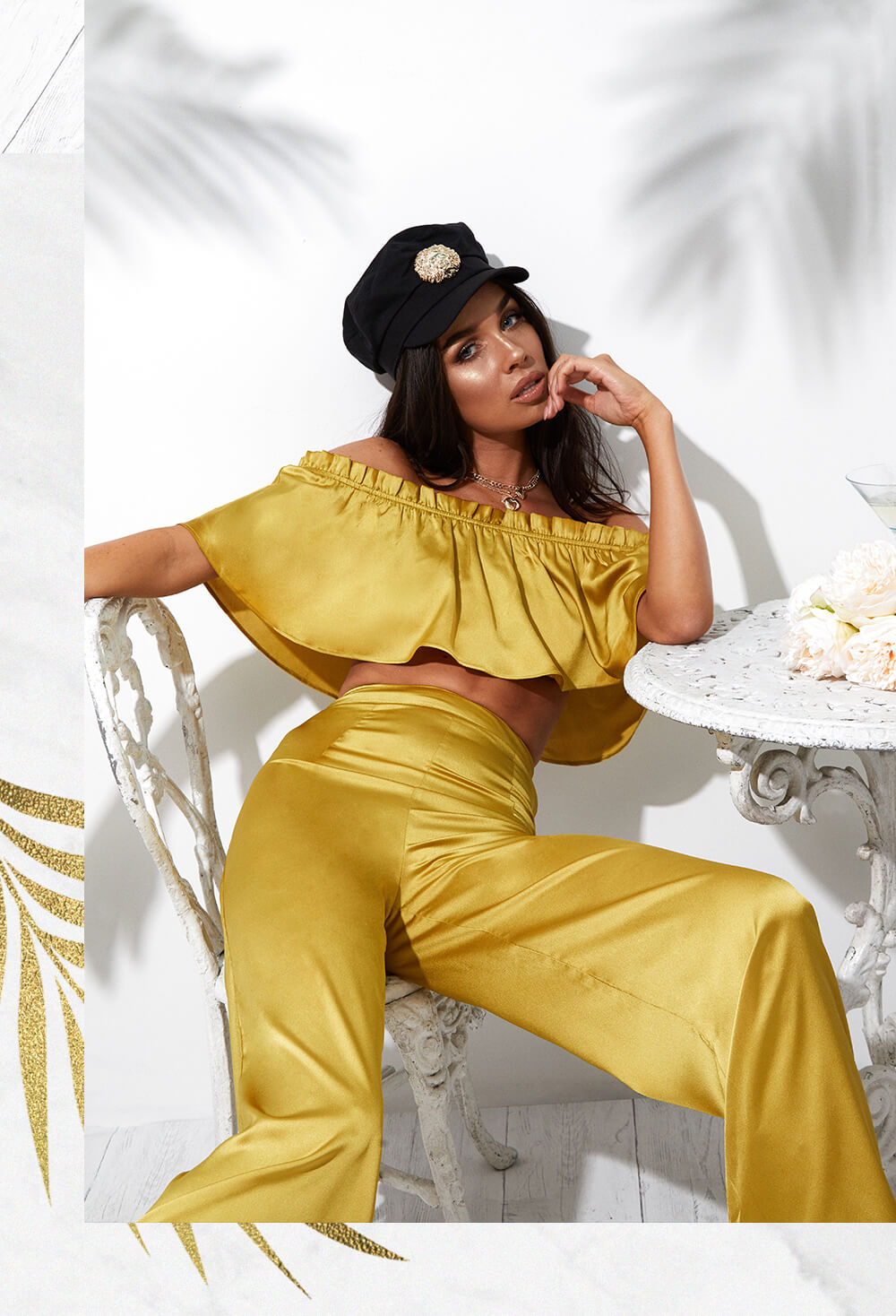 mustard frill bardot crop top and wide leg mustard trousers mobile