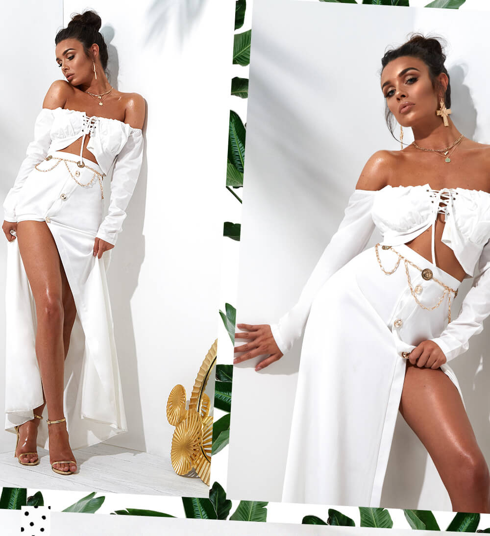 white lace up bardot crop top and front buttons white maxi skirt mobile