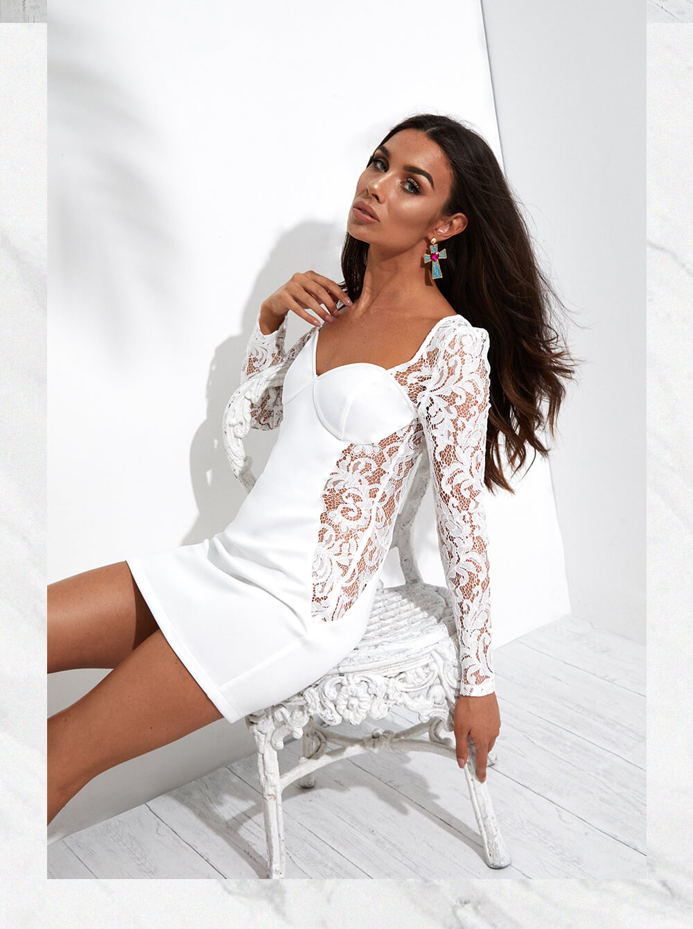 white lace up long sleeve bodycon dress mobile