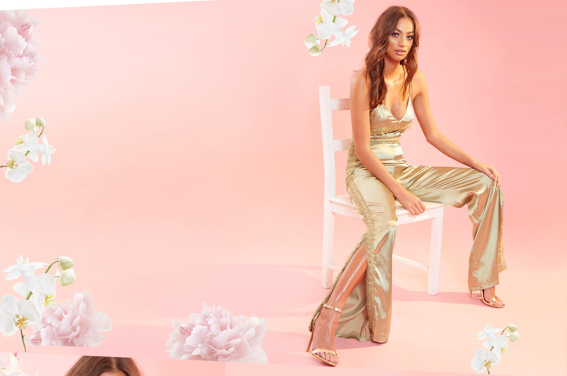 Occasionwear Shoot 5 Gold Satin Jumpsuit Desktop