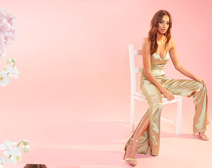 Occasionwear Shoot 5 Gold Satin Jumpsuit Mobile