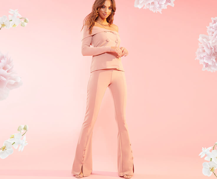 Occasionwear Shoot 7 Light Pink Top & Trousers Mobile