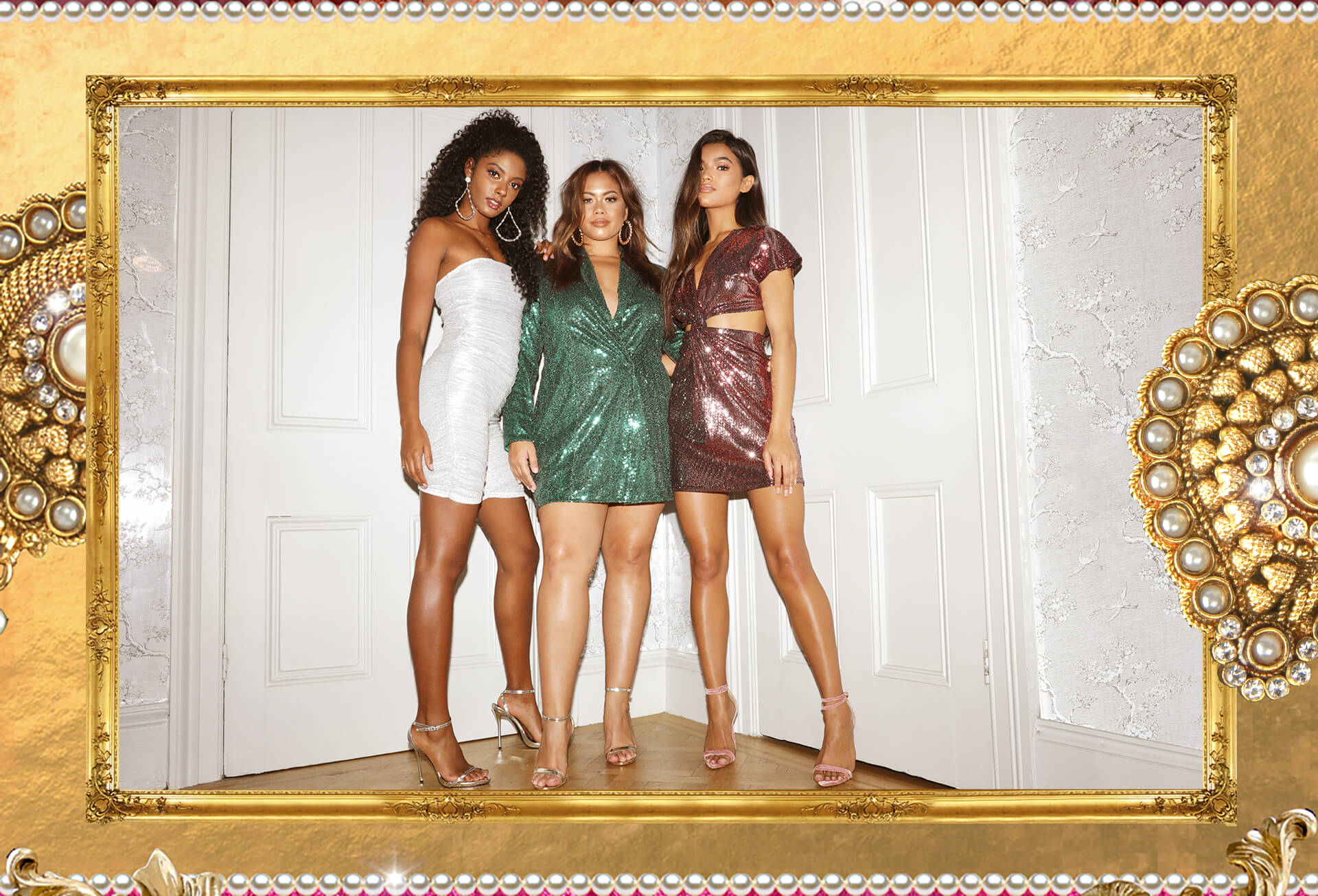 Christmas Lookbook White Glittery Playsuit, Green Glitter Dress, Pink Glitter Dress Desktop