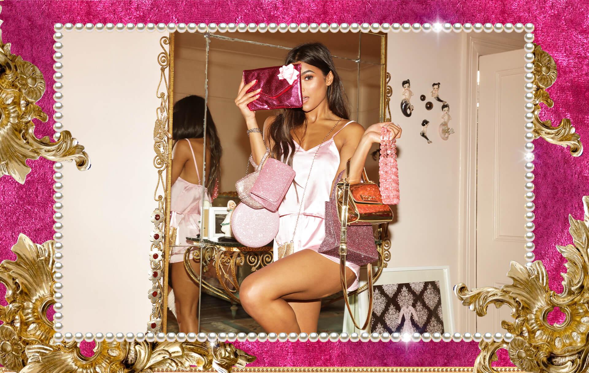 Christmas Lookbook Pink Satin Pyjamas Desktop