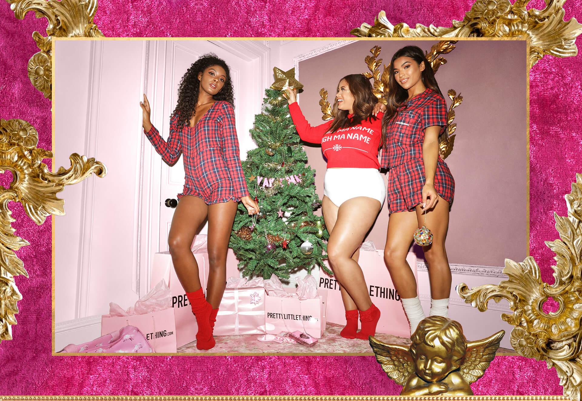 Christmas Lookbook Red Checkered Pyjamas, Red Sleigh Ma Name Jumper Desktop