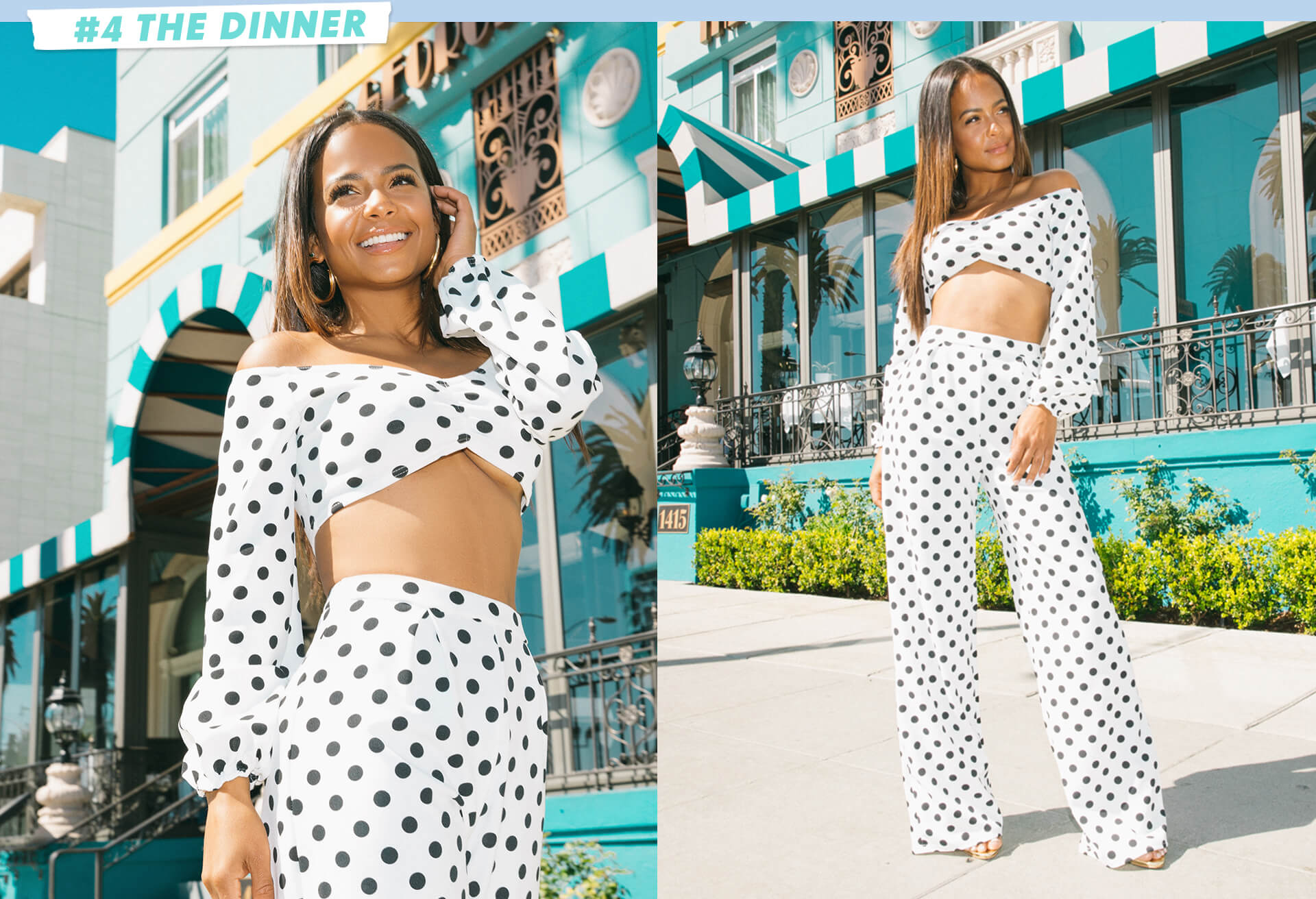 White Polka Dot long sleeve crop top and polka dot wide leg trousers desktop
