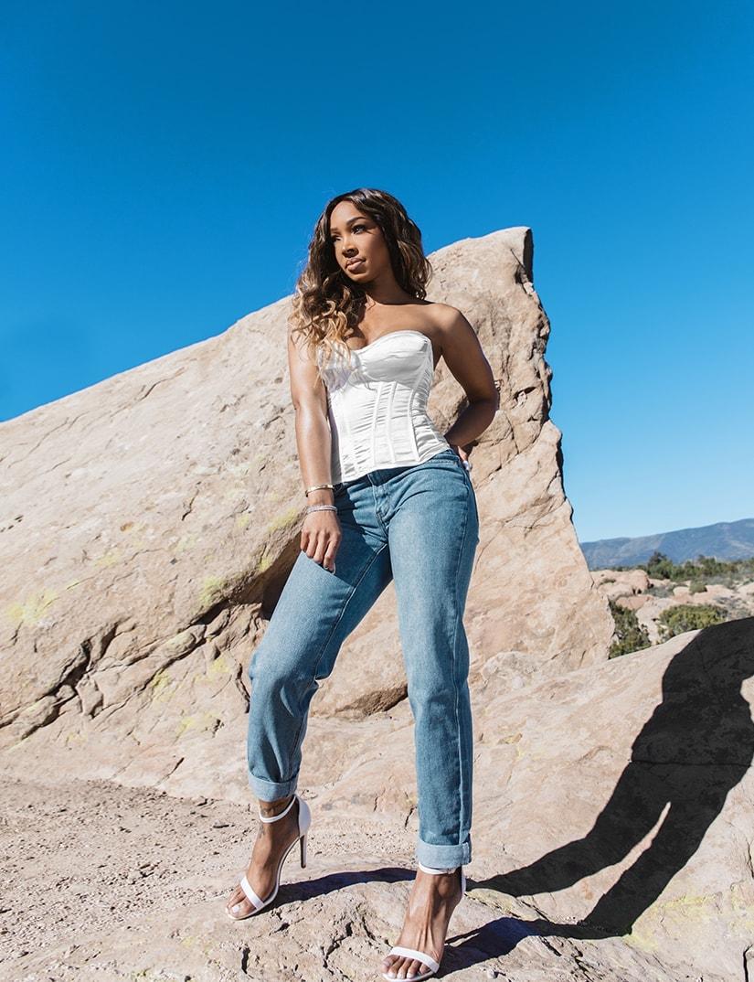 White Corset , Blue Jeans