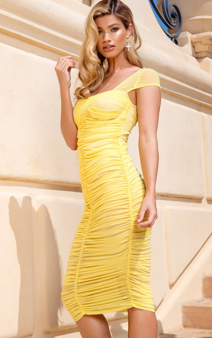Lemon Mesh Ruched Midi Dress
