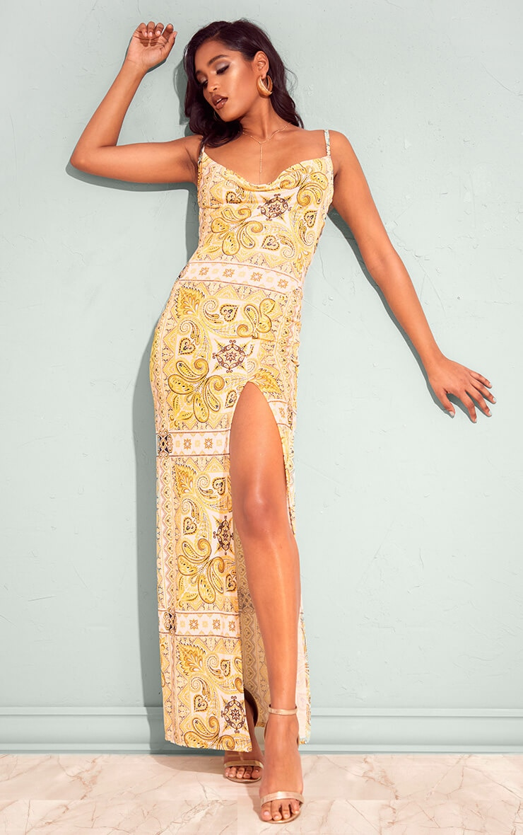 Plus Yellow Tile Print Cowl Neck Maxi Dress