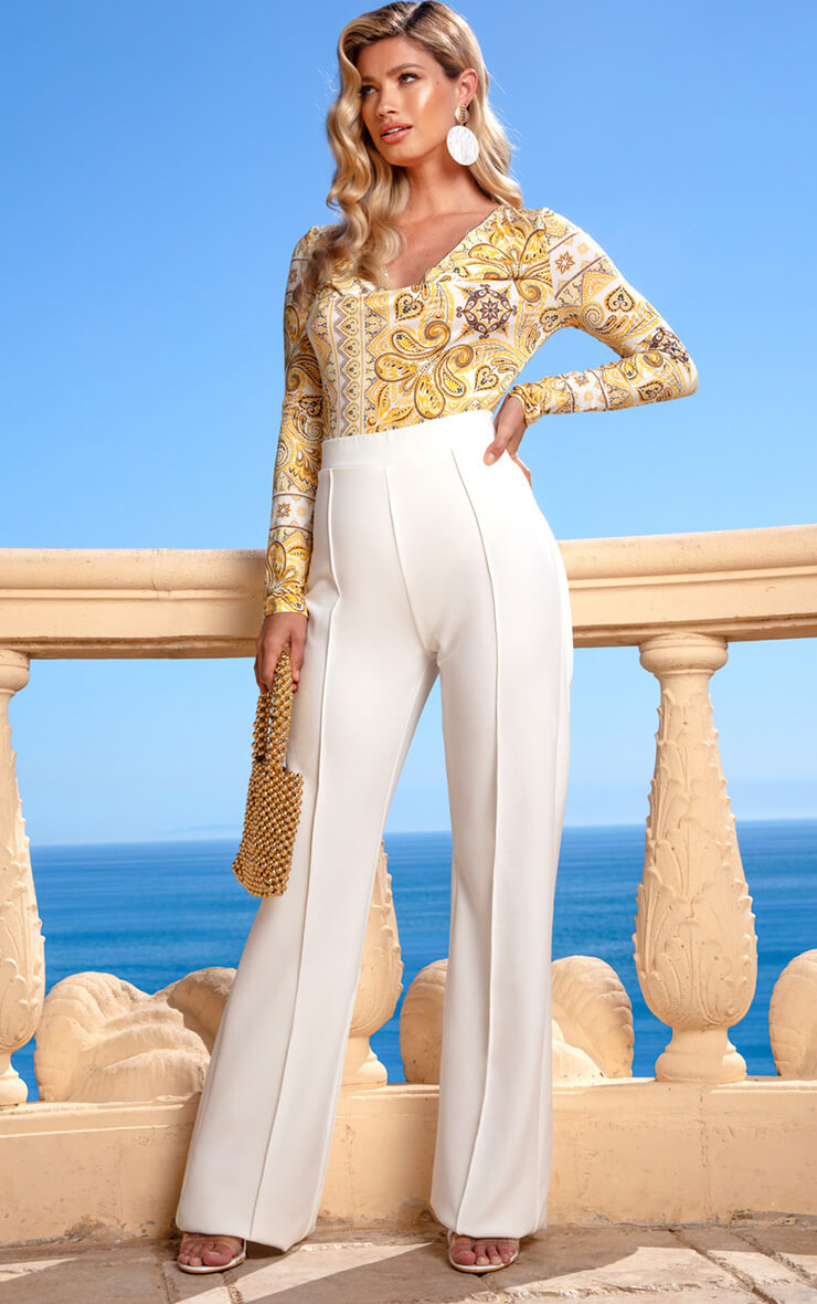 Cream Wide Leg Trouser