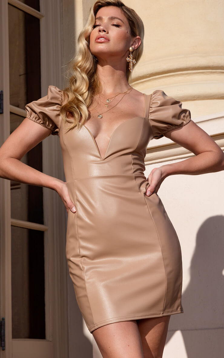Taupe PU Puff Sleeve Bodycon Dress
