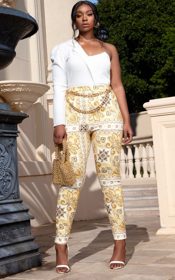 Plus Yellow Tile Print Skinny Trouser