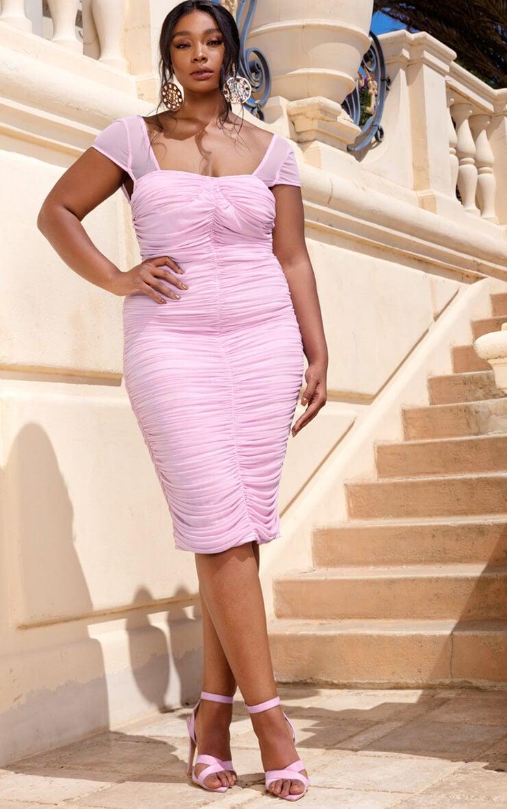Plus Lilac Mesh Ruched Midi Dress