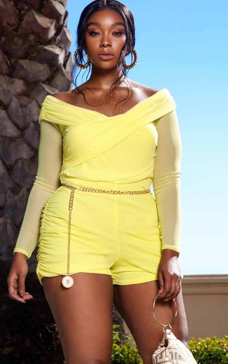 Plus Lemon Mesh Ruched Bardot Playsuit