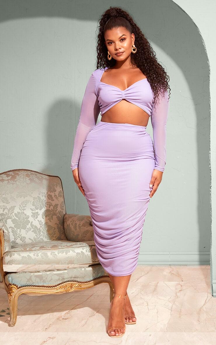 Plus Lilac Mesh Ruched Midi Skirt