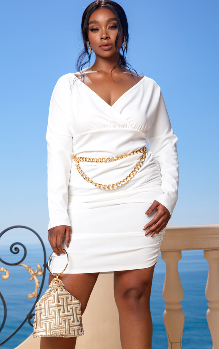 Plus Cream Bardot Ruched Waist Bodycon Dress