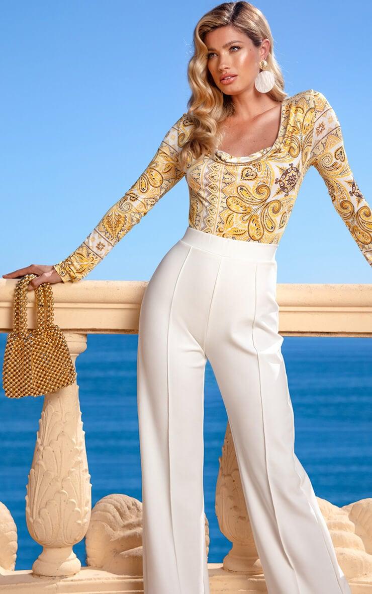 Plus Yellow Tile Print Cowl Neck Bodysuit