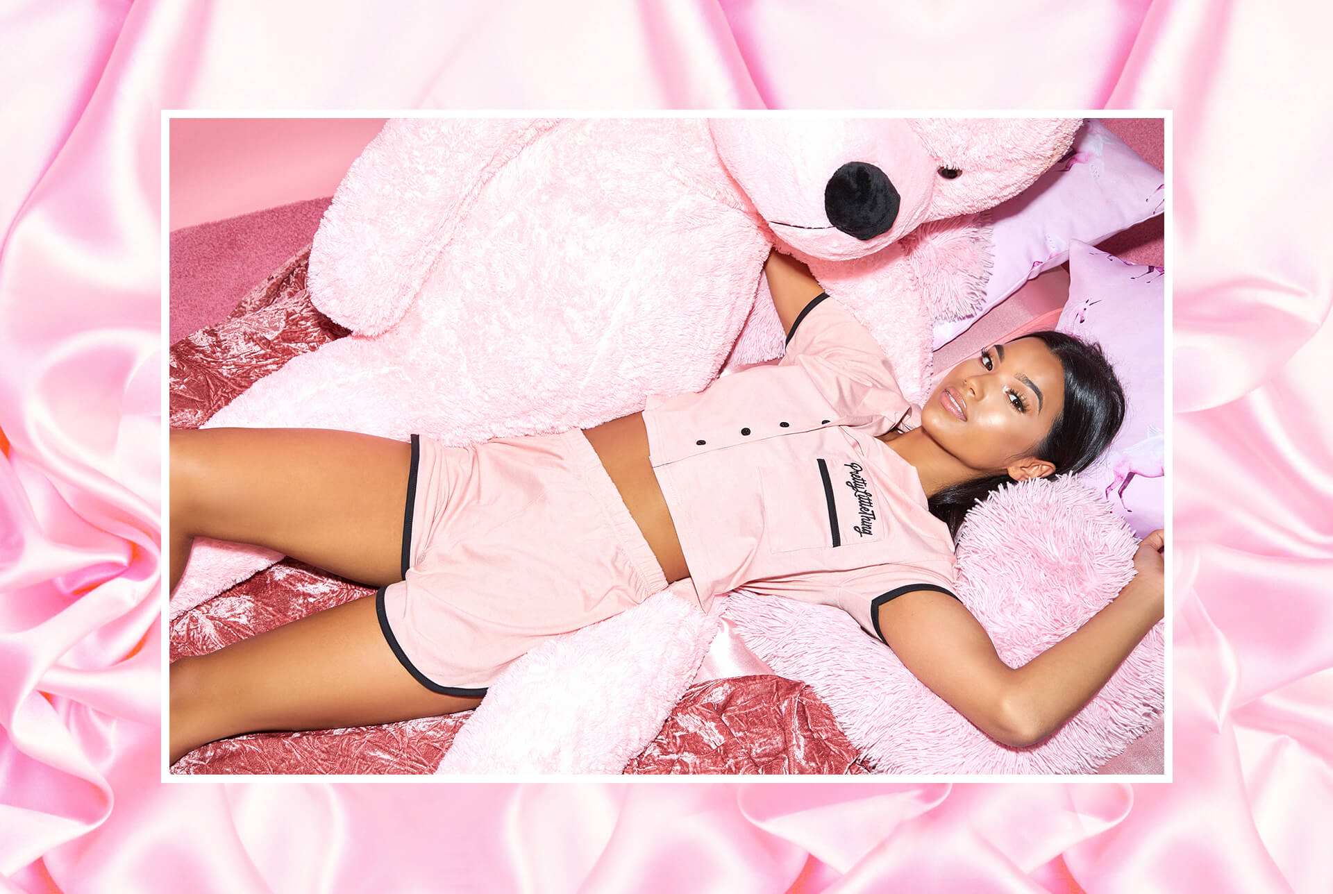 prettylittlething pink pj set desktop