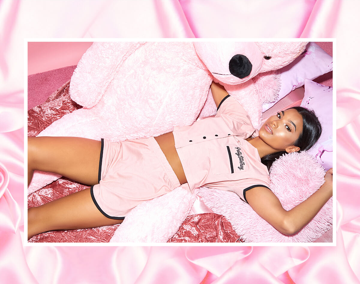 prettylittlething pink pj set mobile