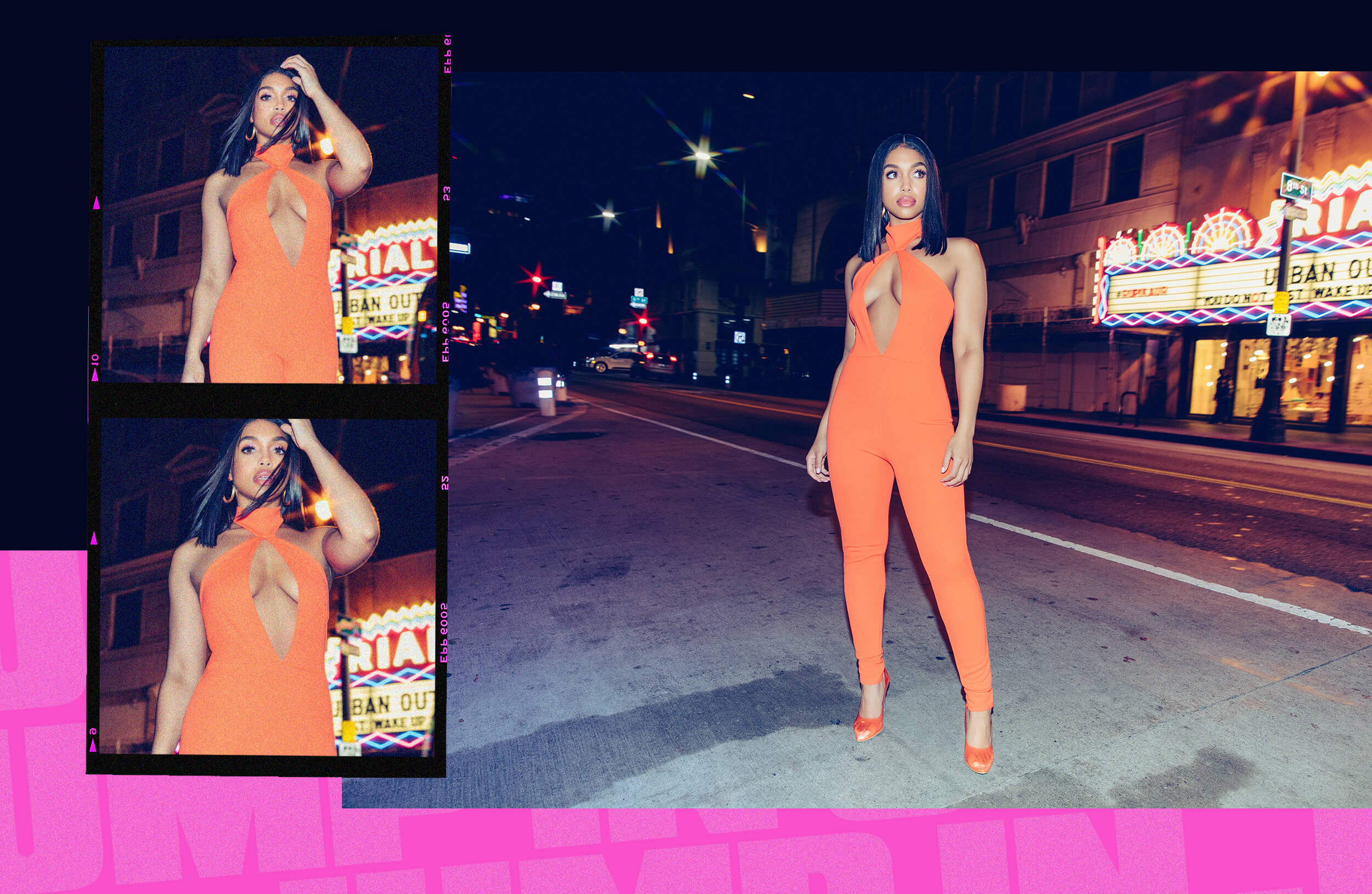 bright orange scuba neck jumpsuit desktop