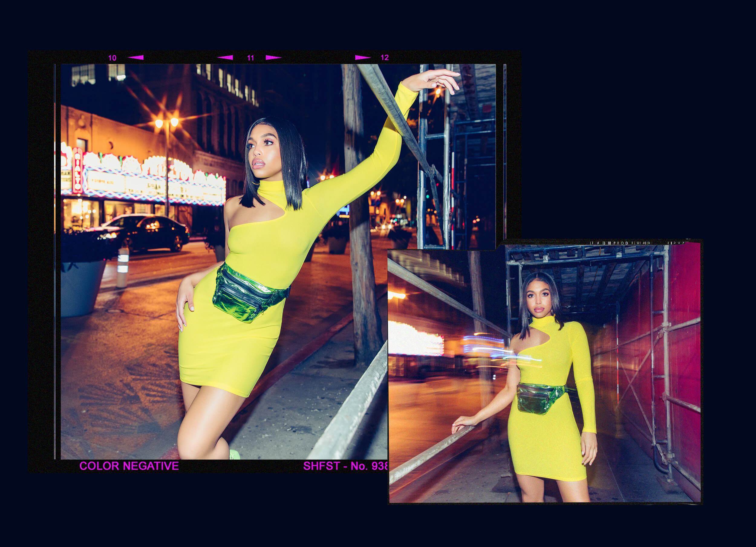 yellow high neck asymmetric sleeve bodycon dress desktop