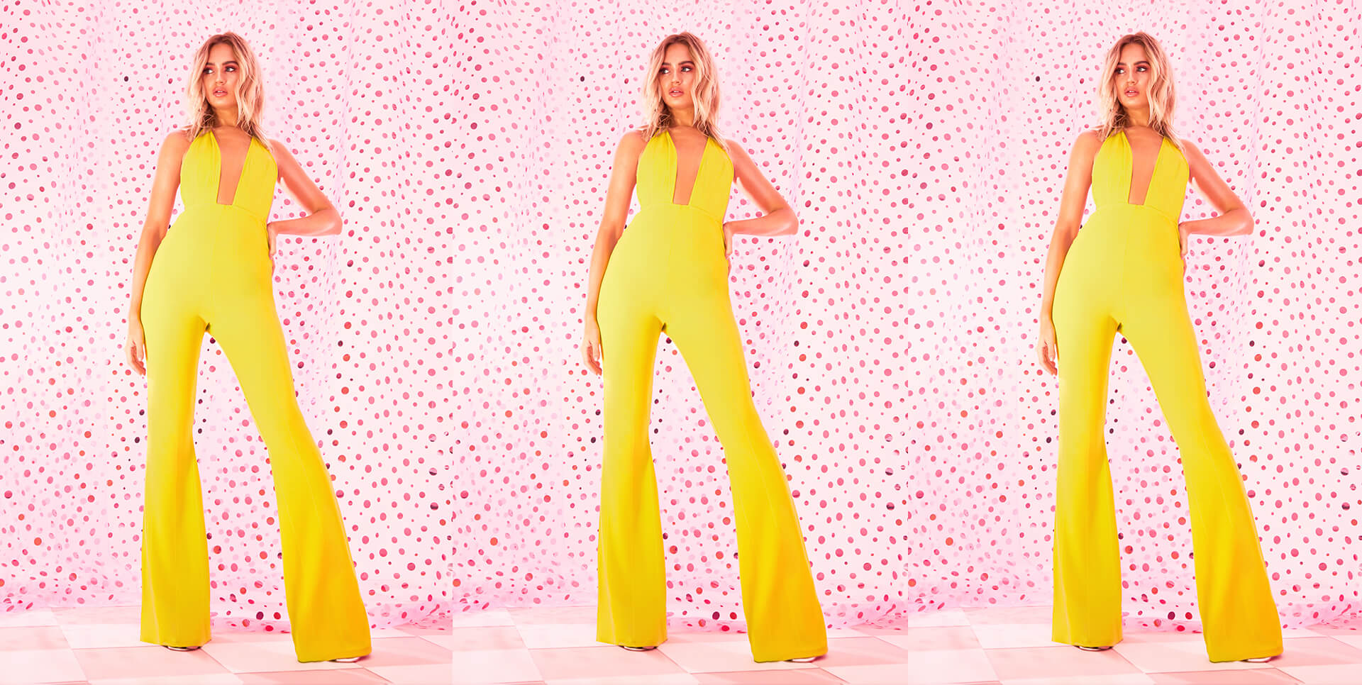 yellow open front high waisted jumpsuit desktop